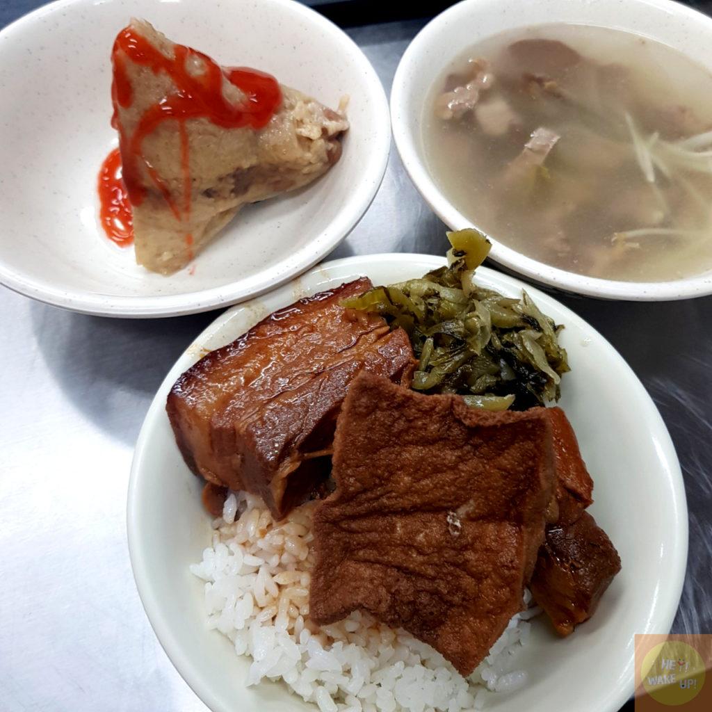 控肉飯、隔間肉湯、香菇蛋黃粽