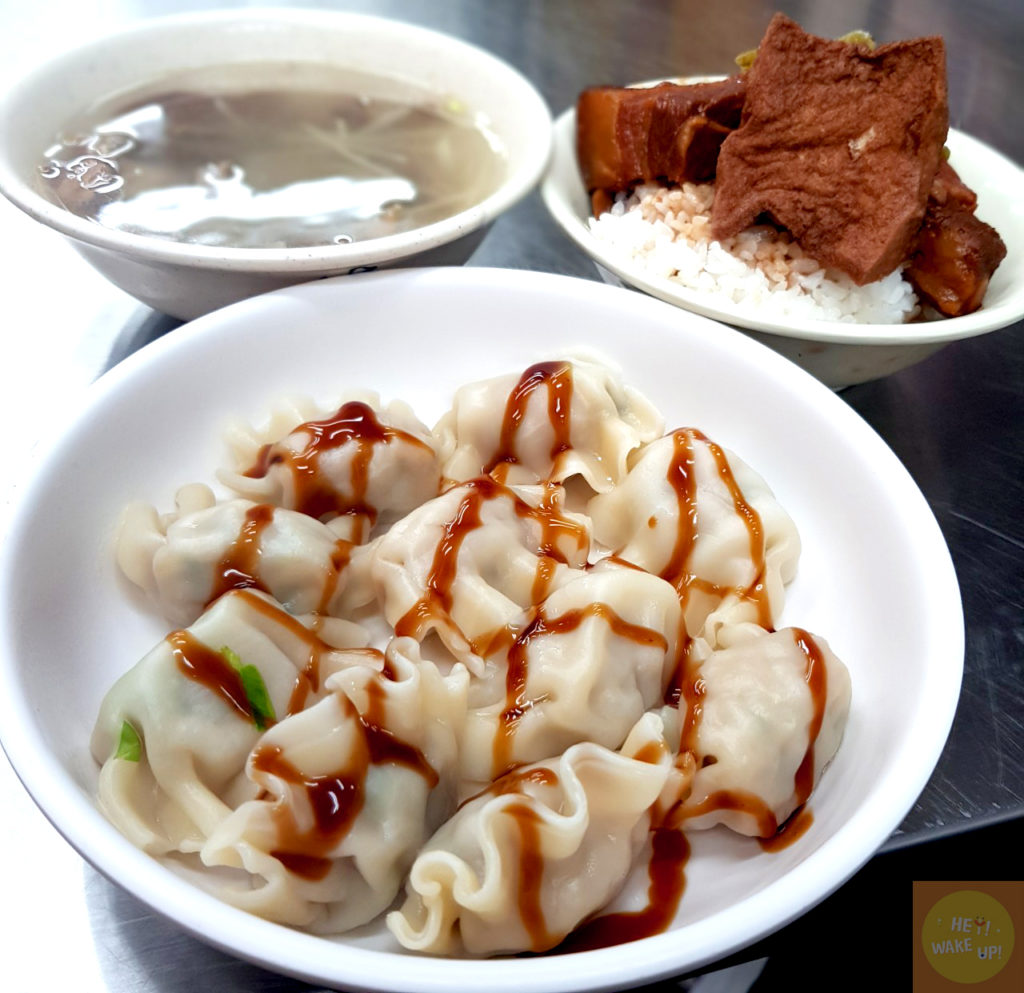 高麗菜水餃、控肉飯、隔間肉湯