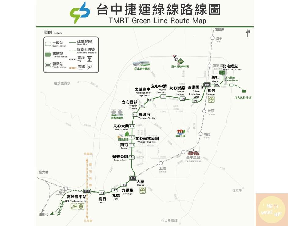 台中捷運綠線路線圖