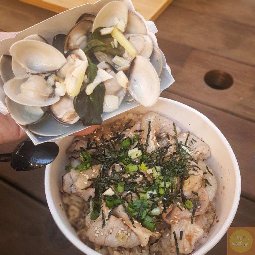 綜合蛤蠣燒和豬肉丼飯